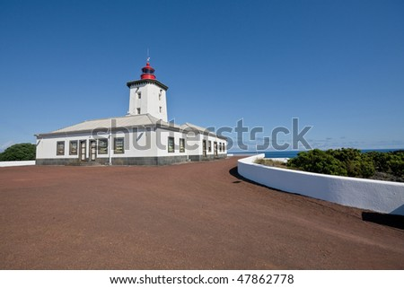 Lighthouse in pico island - Azores - Portugal - Europe - stock photo