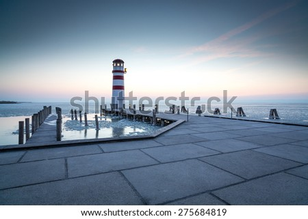 Lighthouse in Podersdorf am See after sunset, lake Neusiedler See, Burgenland, Austria - stock photo