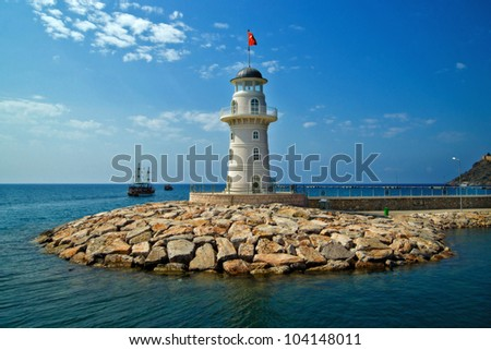 Lighthouse in port Alanya, Turkey.