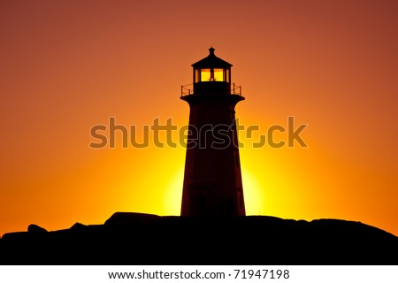 Lighthouse in silhouette at sunset
