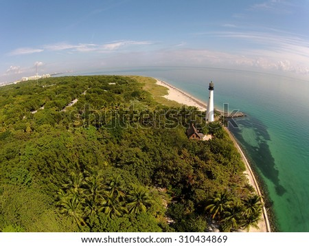 Lighthouse in SOuth Florida seen from high altitude - stock photo