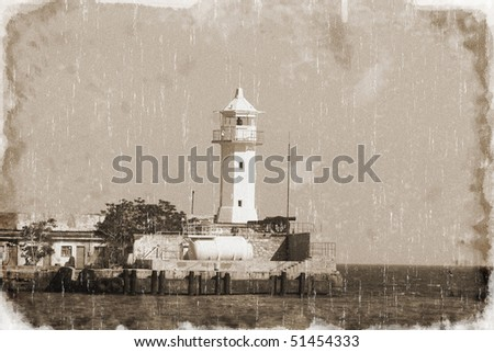 Lighthouse in the bay (vintage style) - stock photo