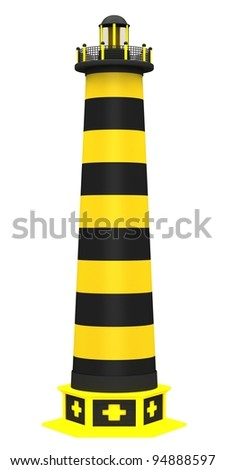 Lighthouse in the bright yellow colors isolated on a white background.