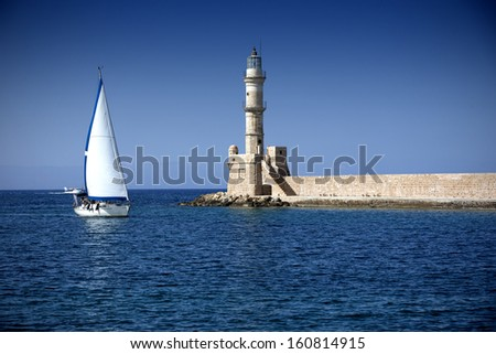 Lighthouse in the city of Chania - stock photo