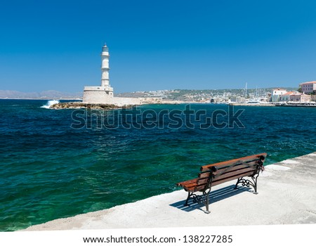 lighthouse in the city of Chania. Crete. Greece. - stock photo