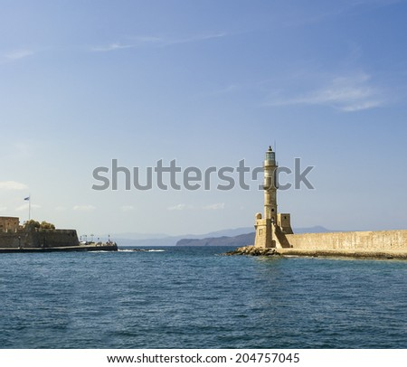 Lighthouse in the harbor of Chania. Crete. Greece - stock photo