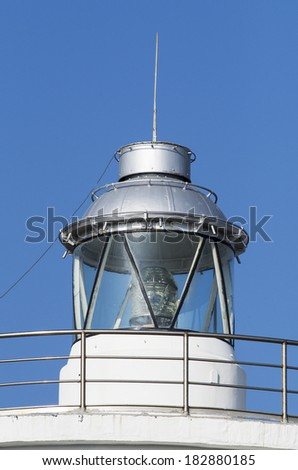 lighthouse in the harbour of carrara , tuscany - stock photo