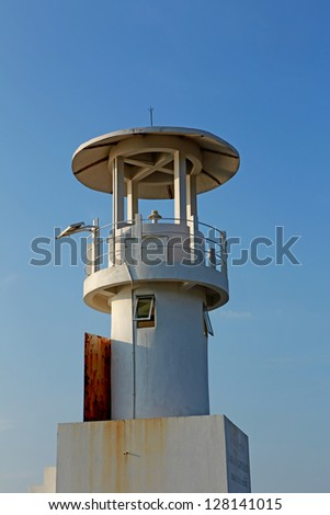 Lighthouse in the sea of thailand - stock photo