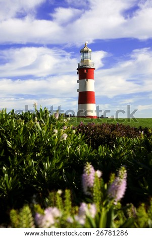 lighthouse in the spring, Plymouth, UK - stock photo