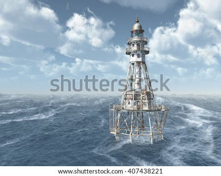 Lighthouse in the stormy ocean Computer generated 3D illustration - stock photo