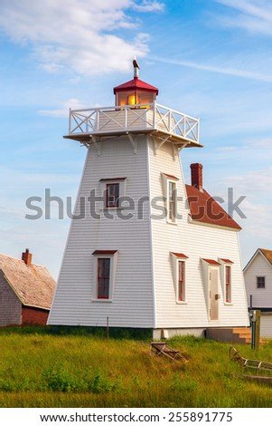 Lighthouse in the village of North Rustico, Prince Edward Island. - stock photo