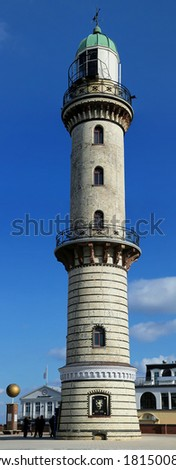Lighthouse in Warnem�¼nde (Mecklenburg-Vorpommern, Germany) - Panoramic view - stock photo