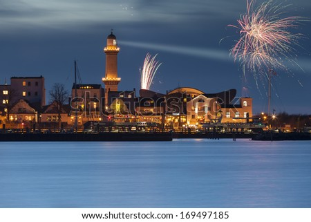 Lighthouse in Warnemuende (Baltic Sea) - stock photo