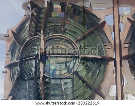 Lighthouse lens - Phare de Gatteville, Barfleur, Basse Normandy, France - stock photo