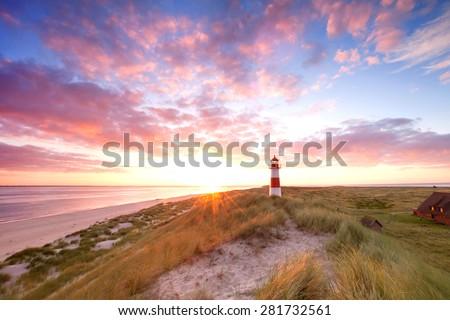 Lighthouse List and beautiful coastal landscape of the german North Sea Island Sylt, Germany, Europe - stock photo