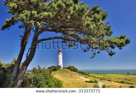 Lighthouse near Kloster (Island Hiddensee - Germany) - HDR image - stock photo