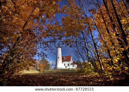 Lighthouse Northern Michigan Lake Superior Scenic - stock photo