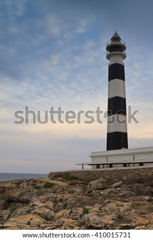 Lighthouse of Artrutx piont, one of the most famous and picturesque buildings of Menorca, Spain