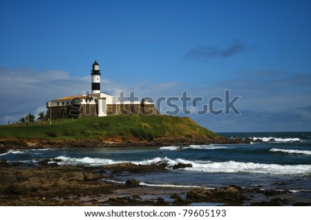 Lighthouse of Barra - Salvador - Bahia - Brazil - stock photo