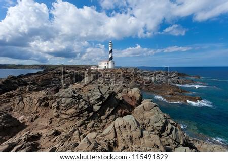 Lighthouse of Cap de Favaritx on Menorca,Balearic Islands - stock photo