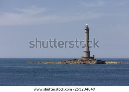 Lighthouse of Goury at Cap de la Hague - Phare de la Hague, Goury, Basse Normandy, France - stock photo