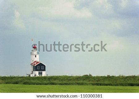Lighthouse of Marken, the Netherlands, also called The Horse of Marken - stock photo