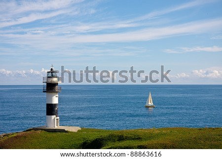 Lighthouse of Ribadeo in Galicia, Spain - stock photo