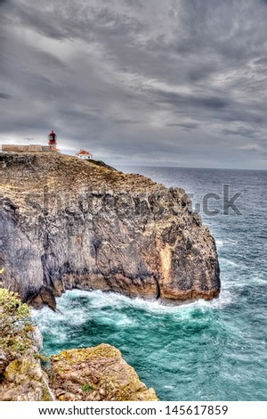 Lighthouse of Sagres, Portugal in HDR - stock photo