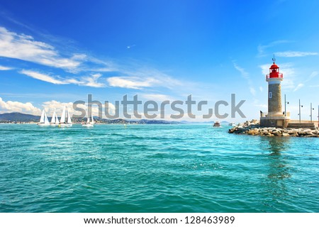 Lighthouse of St. Tropez. beautiful mediterranean landscape. french riviera, Cote d' Azur, France - stock photo