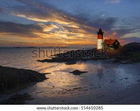 Lighthouse off the coast of New England, USA - stock photo