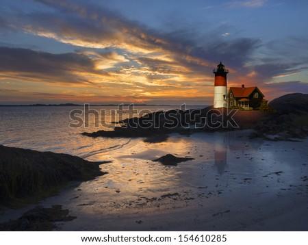 Lighthouse off the coast of New England, USA - stock photo