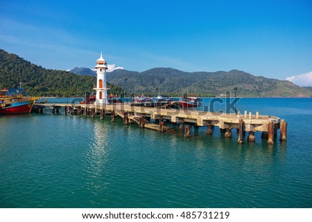 Lighthouse on a  pier on Koh Chang Island in Thailand