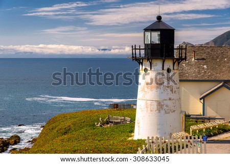 Lighthouse on California coast, Point Montara Fog Signal and Light Station  - stock photo