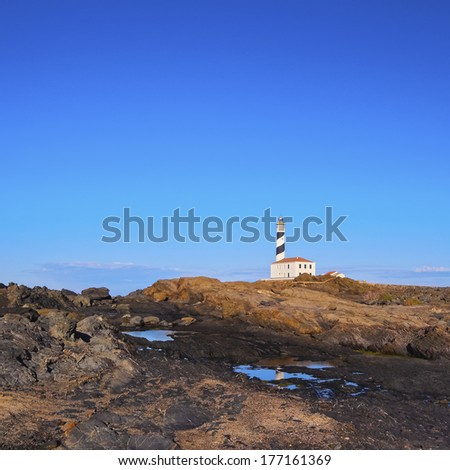 Lighthouse on Cap Fevartix on Menorca, Balearic Islands, Spain