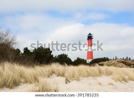 Lighthouse on island Sylt in the city Hoernum in northern Germany