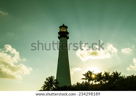 Lighthouse on sunset at the Florida State Park, Key Biscayne, Miami, United States  - stock photo