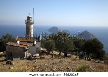 Lighthouse on the hill - stock photo