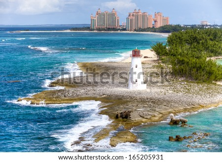 Lighthouse on the Paradise Island, Bahamas - stock photo