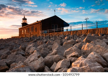 Lighthouse on the pier in Morecambe, Lancashire, England,