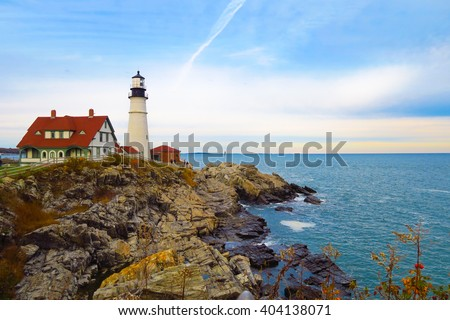Lighthouse on the rocks, Portland, Maine