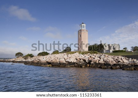 Lighthouse on the Thames river,  near the University of Connecticut - stock photo