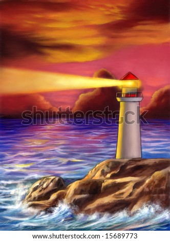 Lighthouse over a gorgeous sunset. Mixed media illustration - stock photo