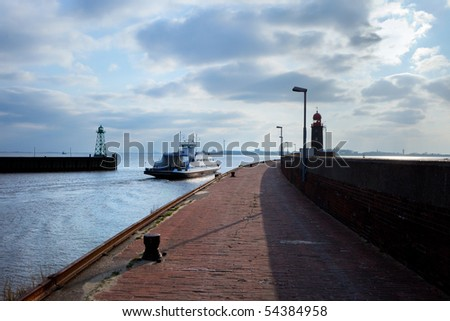 lighthouse over blue sky in Bremerhaven - stock photo
