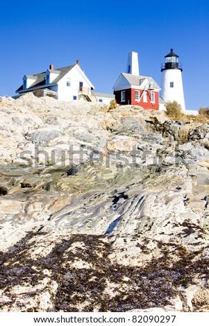lighthouse Pemaquid Point Light, Maine, USA - stock photo