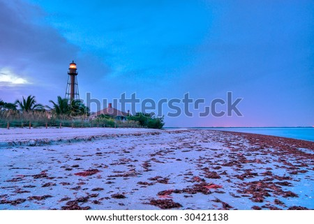 Lighthouse Point at Sanibel in Florida, this Lighthouse is an historical landmark in Sanibel. - stock photo