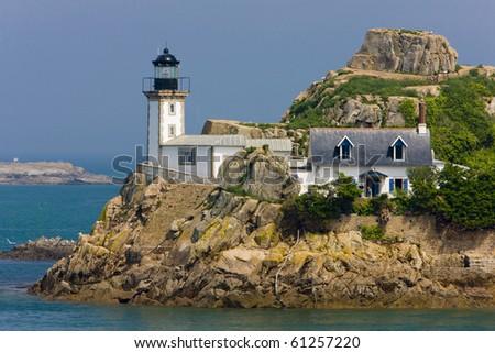 lighthouse, Pointe de Pen al Lann, Brittany, France - stock photo