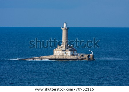 Lighthouse Porer in north croatia on a sunny day - stock photo