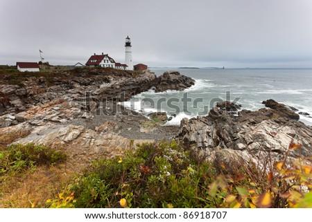 Lighthouse Portland Head Light at dawn, Maine, USA - stock photo