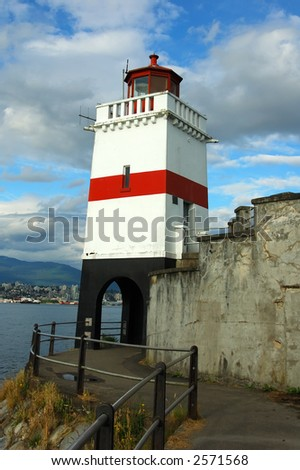 Lighthouse portrait near Vancouver downtown - stock photo
