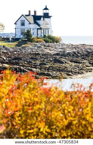 lighthouse, Prospect Harbour Point Light, Maine, USA - stock photo